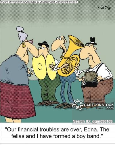 'Our financial troubles are over, Edna. The fellas and I have formed a boy band.'